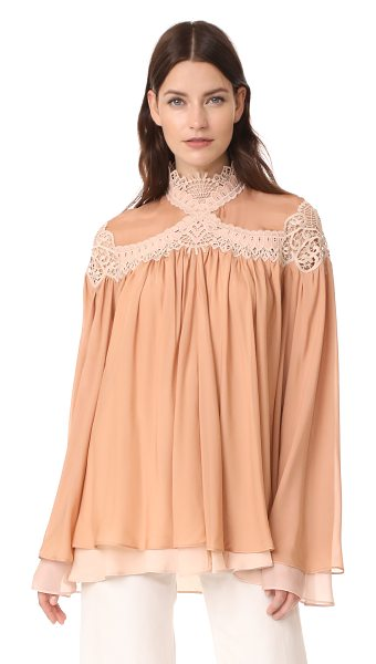 Jonathan Simkhai babydoll blouse in terracotta/bush - Sheer lace trim lends bohemian style to this pleated,...