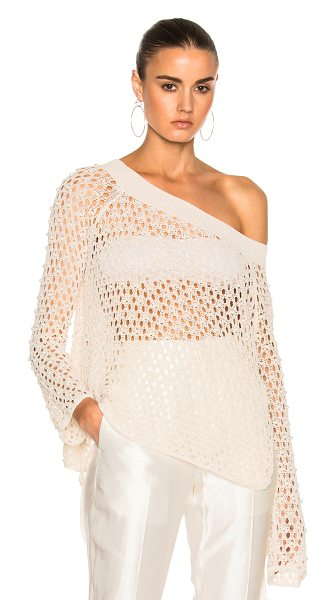 Jonathan Simkhai Cage Pearl Off Shoulder Top in stone - 50% cotton 50% nylon. Made in China. Dry clean only....