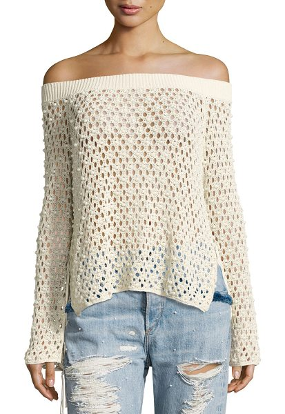 JONATHAN SIMKHAI Cage Pearly-Beaded Off-the-Shoulder Top - Jonathan Simkhai sweater top in sheer, open-caged knit...
