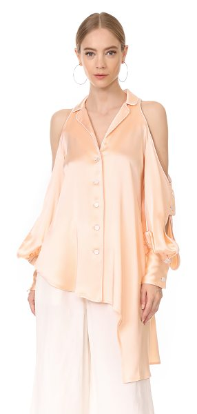 Jonathan Simkhai cold shoulder blouse in blush - A Jonathan Simkhai blouse with lustrous sheen. Piping...