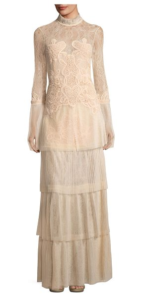 Jonathan Simkhai Long-Sleeve Tiered Dimensional Lace Gown in blush - Jonathan Simkhai Collection gown in tiered dimensional...