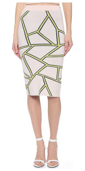 Jonathan Simkhai Fit knit intarsia skirt in pink/yellow - This fitted Jonathan Simkhai pencil skirt has a crisp...