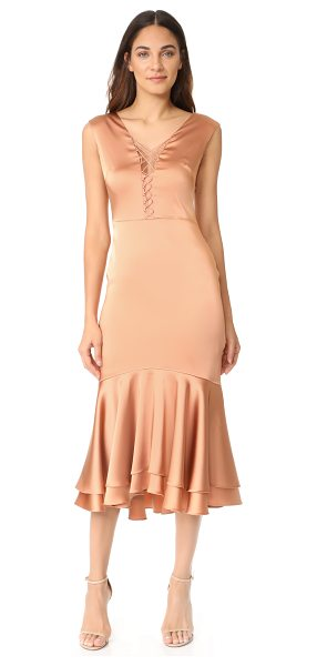 Jonathan Simkhai fluid stretch sateen lace up dress in rose gold - This elegant Jonathan Simkhai dress is detailed with a...