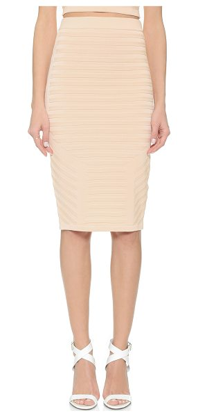 JONATHAN SIMKHAI Framed rib pencil skirt in pink - Raised stitches create striped sections on this...