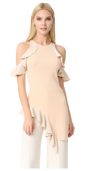 Jonathan Simkhai hanging ruffle combo tunic in blush/stone - A luxe, two-tone Jonathan Simkhai cocktail dress with...