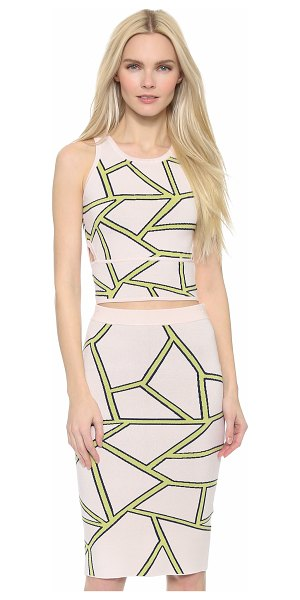 Jonathan Simkhai Intarsia racer bra top in pink/yellow - Geometric lines bring a striking graphic effect to this...