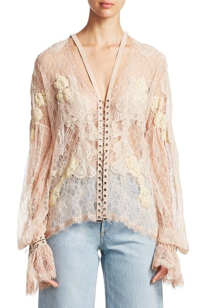Jonathan Simkhai embellished lace blouse in nude - Delicate floral lace blouse with polished...