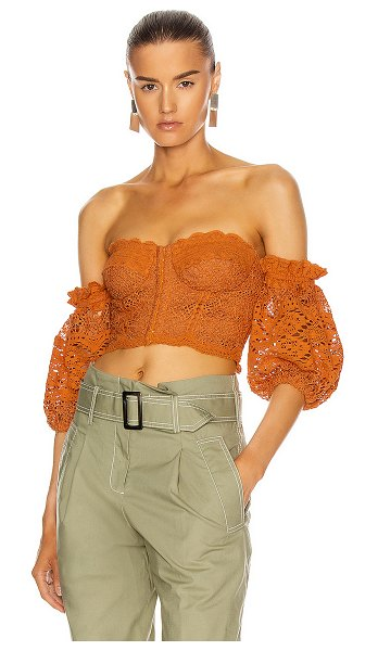 Jonathan Simkhai leigh puff sleeve bustier top in toffee