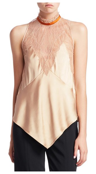 Jonathan Simkhai lingerie sateen sleeveless top in nude cigar - Ultra-feminine top in slinky sateen fabric with lace...