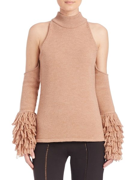 Jonathan Simkhai loopy yarn cold shoulder pullover in nude - Stunning pullover woven from luxurious mohair. Ribbed...