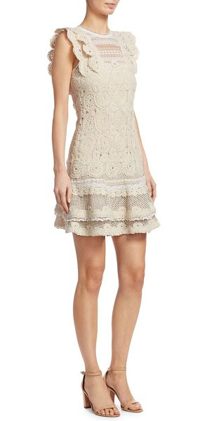 JONATHAN SIMKHAI macrame ruffle mini dress in ecru combo - Macrame lace dress with scalloped ruffle trim. Crewneck....