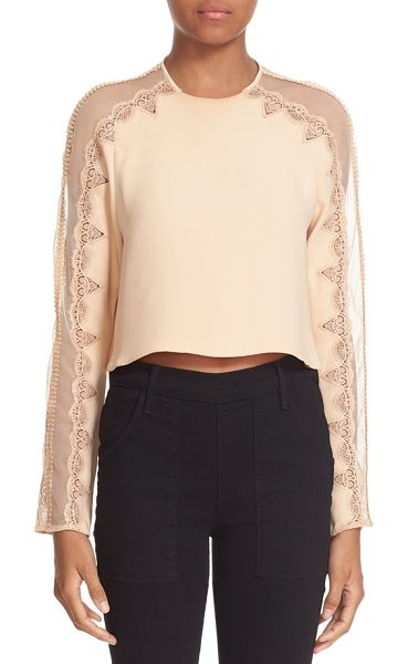 Jonathan Simkhai mesh draped long sleeve silk top in blush - Lovely cotton lace flanks the mesh yoke and sleeve...