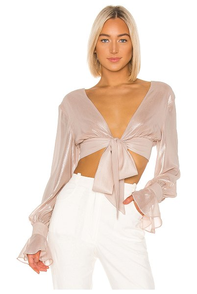 Jonathan Simkhai metallic chiffon crop top in pink sand