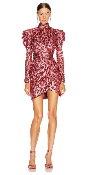 Jonathan Simkhai metallic mockneck wrap dress in sienna combo
