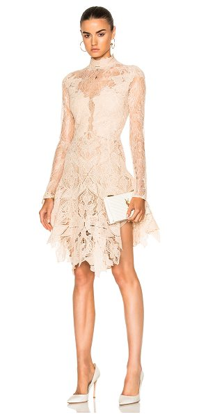 Jonathan Simkhai Multimedia Corded Long Sleeve Lace Dress in blush - Self: 100% nylonContrast Fabric: 90% poly 10%...