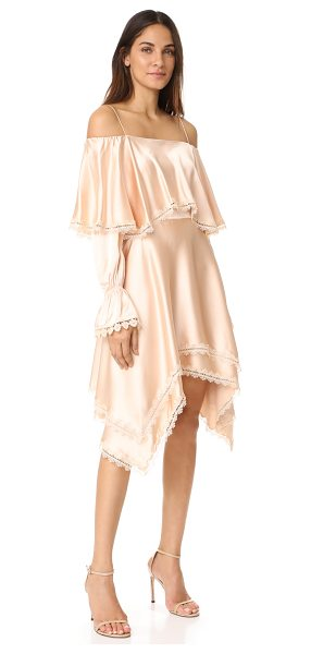 Jonathan Simkhai off shoulder ruffle dress in nude - This luxurious sateen Jonathan Simkhai dress is detailed...