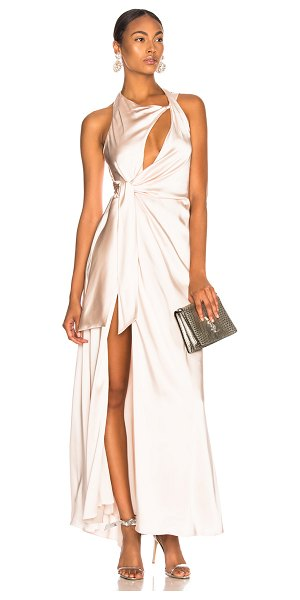 Jonathan Simkhai Off Shoulder Slit Gown in nude - Self: 64% acetate 35% viscose 1% elastan - Lining: 100%...