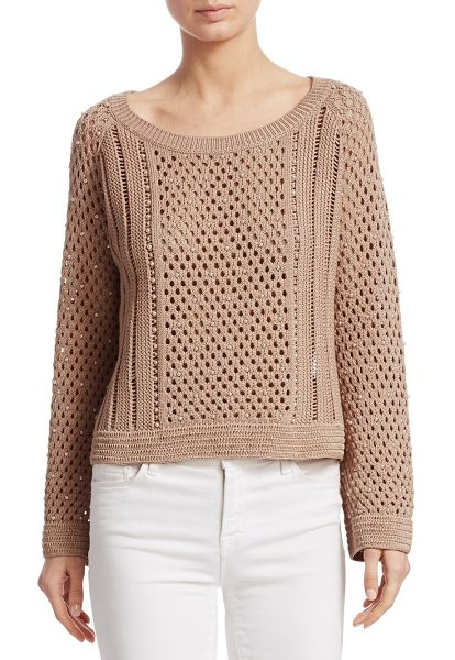 Jonathan Simkhai pearl crochet sweater in bronze - From the Saks IT LIST. PUTTING ON THE KNITS. That...