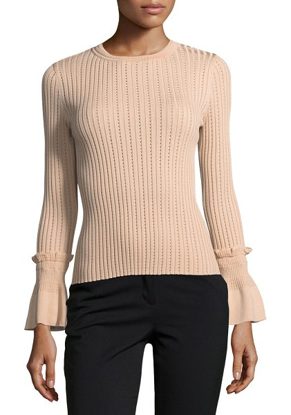 Jonathan Simkhai Perforated Knit Crewneck Sweater in nude - Jonathan Simkhai sweater in perforated rib-knit. Crew...