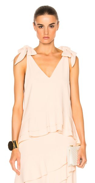Jonathan Simkhai Silk Crepe Tie V Neck Peplum Top in neutrals,pink - Self & Lining: 59% viscose 4% elastan.  Made in China. ...