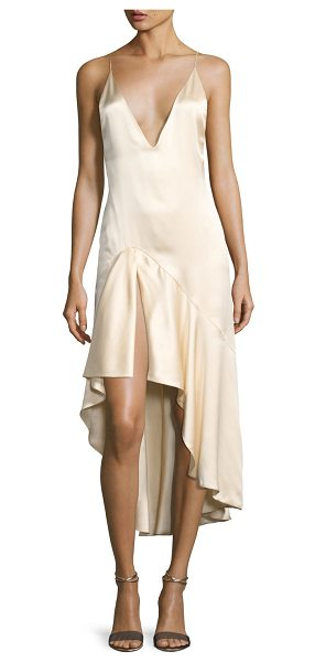 Jonathan Simkhai Silk Satin High-Low Slip Dress in beige - Jonathan Simkhai slip dress in lustrous satin. Plunging...