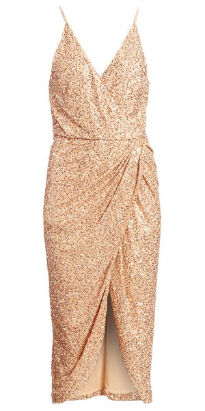Jonathan Simkhai speckled sequin wrap dress in gold