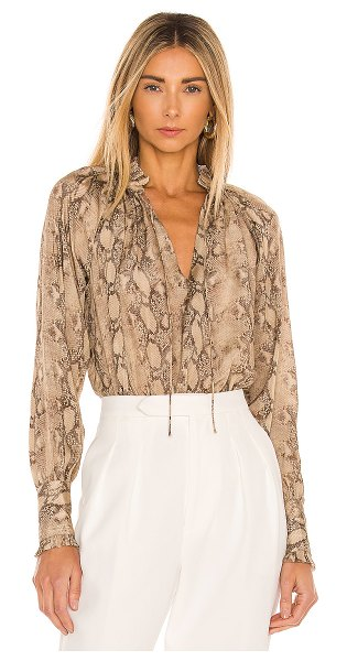 JONATHAN SIMKHAI STANDARD rue ruched front blouse in python