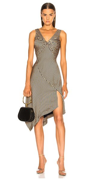 Jonathan Simkhai Striped Twist Midi Dress in blue,neutrals,stripes - Self: 100% rayon - Lining: 100% poly.  Made in China. ...