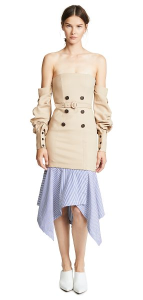 JONATHAN SIMKHAI tailored corset dress in khaki - Fabric: Suiting / poplin Removable skirt Ruched sleeves...
