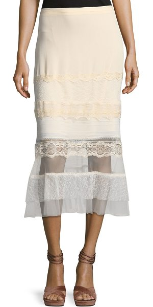 Jonathan Simkhai Threaded Tulle Lace Ruffle Midi Skirt in blush - Jonathan Simkhai godet skirt in threaded tulle lace....