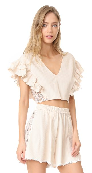 Jonathan Simkhai trimmed lace ruffle crop top in blush combo - A Jonathan Simkhai crop top in a faint herringbone...