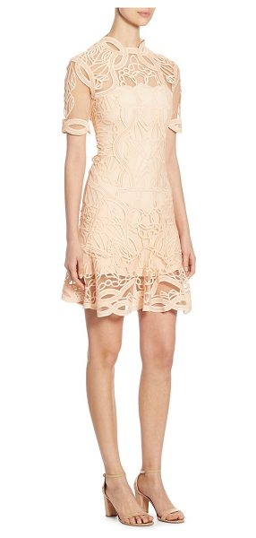 Jonathan Simkhai truss applique mini flare dress in blush - Statement-making dress featuring scalloped detailing....