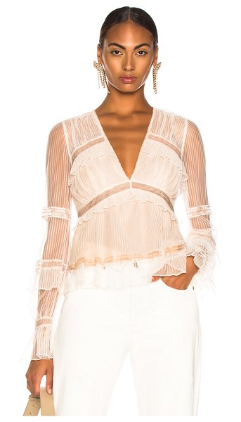 Jonathan Simkhai V Neck Blouse in neutral - Self & Lining 1: 100% poly - Lining 2: 100% silk.  Made...