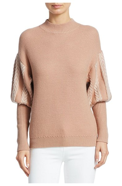 Jonathan Simkhai wool puff sleeve sweater in sandstone - Chevron puff sleeves adorn this textured-knit pullover...