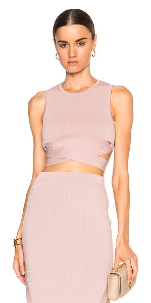 Jonathan Simkhai Wrap spill bra in neutrals,pink - 65% rayon 35% nylon.  Made in China.  Textured knit...