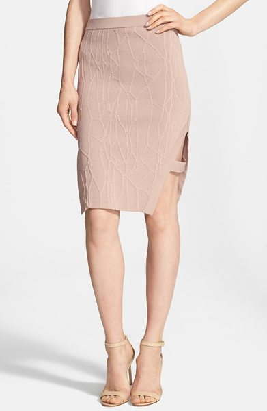 Jonathan Simkhai wrap spill intarsia knit pencil skirt in sahara rose - A ribbed band bridges the sultry side cutout of a sleek,...