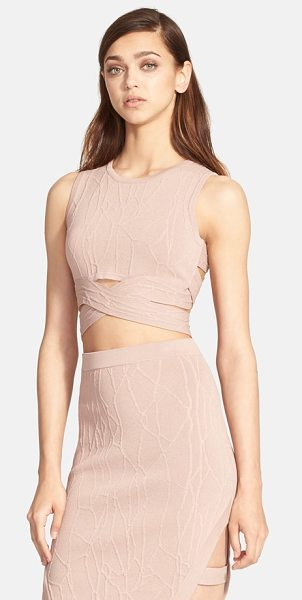Jonathan Simkhai wrap spill intarsia knit top in sahara rose - A sultry, cropped bandage top features a wraparound...