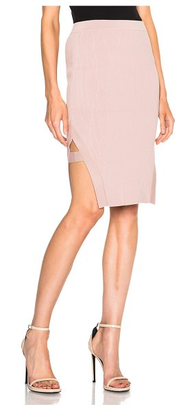 Jonathan Simkhai Wrap spill skirt in neutrals,pink - 65% rayon 35% nylon.  Made in China.  Textured knit...