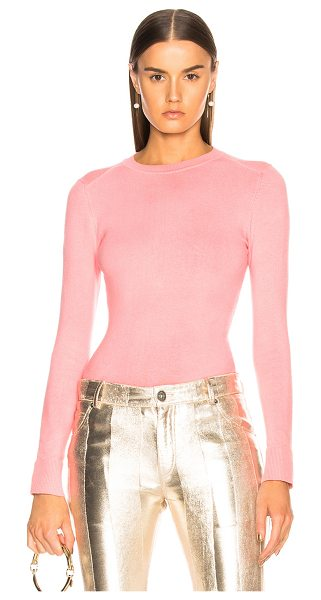 JoosTricot Bodycon Crew Neck Sweater in pink - 56% cotton 20% spandex 16% nylon 8% silk.  Made in...