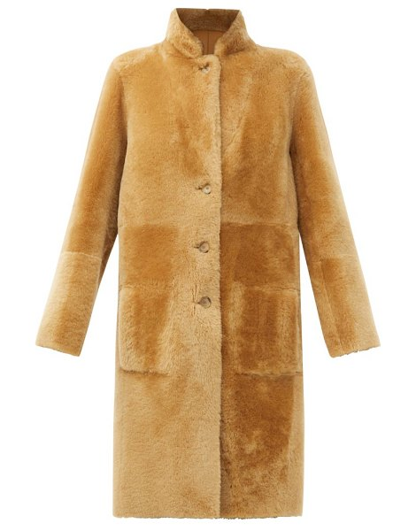 Joseph brittany reversible shearling and leather coat in camel