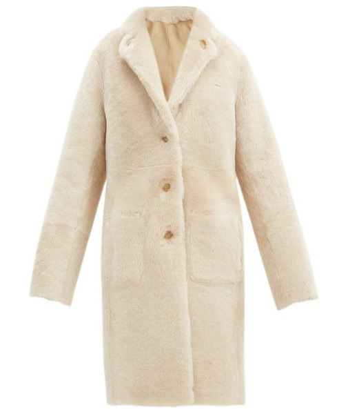 Joseph brittany reversible shearling and leather coat in cream