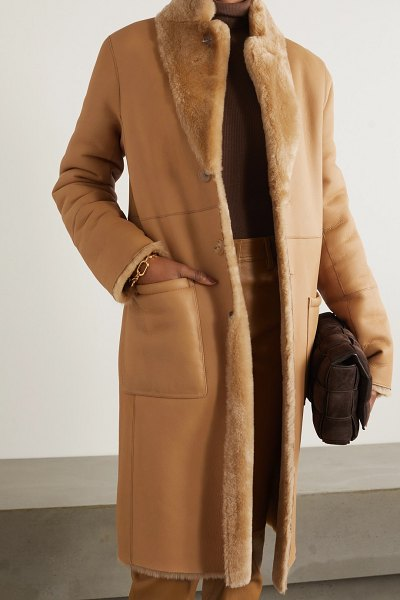 Joseph brittany reversible shearling coat in camel
