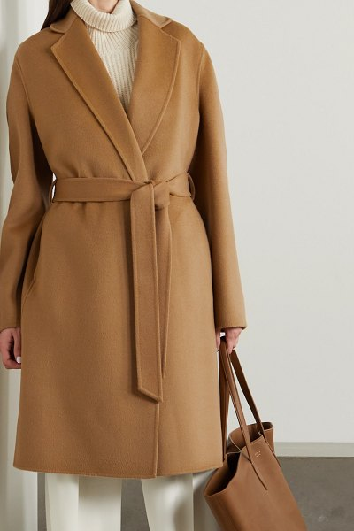 Joseph cenda belted wool and cashmere-blend coat in camel