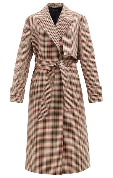 Joseph chasa belted checked wool-blend coat in brown multi