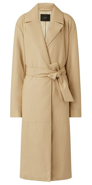 Joseph cola belted padded-leather coat in cream