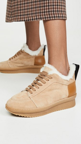 Joseph crosta crepe shearling low booties in biscotto