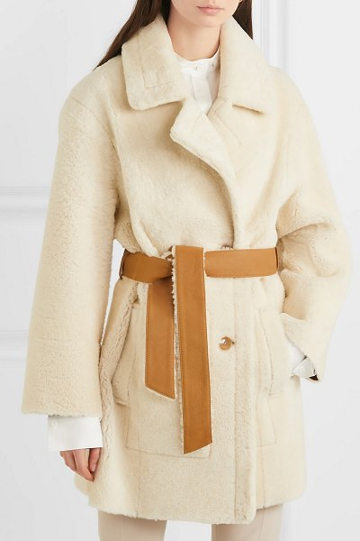 Joseph jimmy double-breasted shearling coat in cream