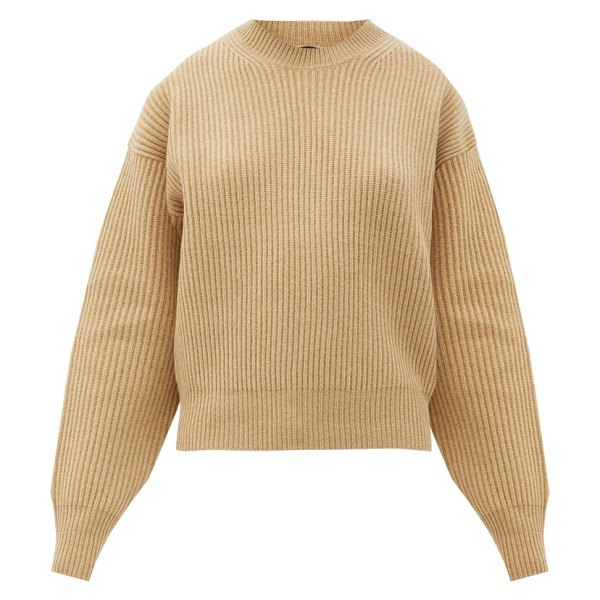 Joseph ribbed-knit wool sweater in camel