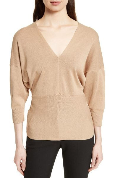 Joseph tie detail v-neck sweater in sand - A fine-gauge drop-shoulder sweater offers a chic and...