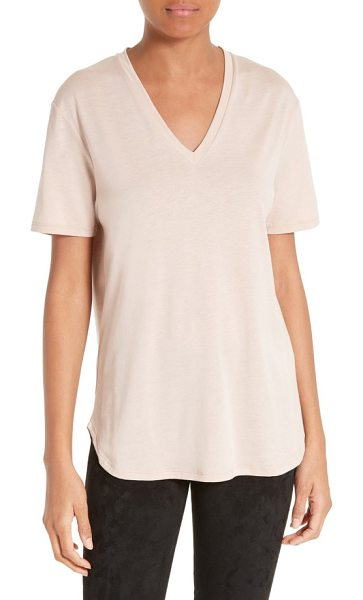 Joseph v-neck tee in pearl - A fluid micro-ribbed tee is expertly cut to serve as a...